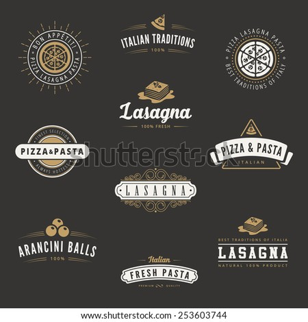 Italian cuisine Retro Vintage Labels Logo design vector typography lettering templates.  Old style elements, business signs, logos, label, badges, stamps and symbols. Pizza, pasta, lasagna theme. - stock vector
