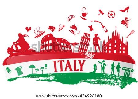 Italian Flag Ink Background Silhouette Symbol Stock Vector 434926180