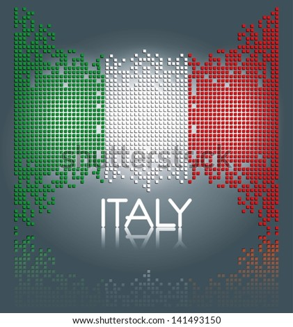 Italian flag made out of square blocks, vector - stock vector
