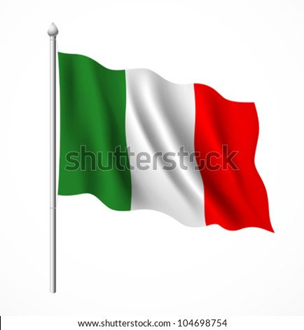 italian flag, vector illustration - stock vector