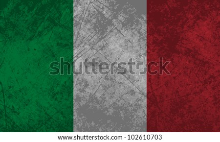 Italian flag with a grunge texture effect.