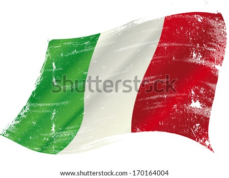 Italian flag with a texture in the wind - stock vector