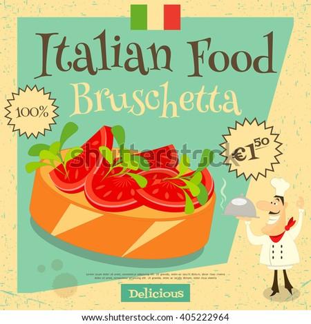 Italian Food - Bruschetta. Cover Menu. Advertising Bruschetta. European Cuisine. Vector Illustration. - stock vector
