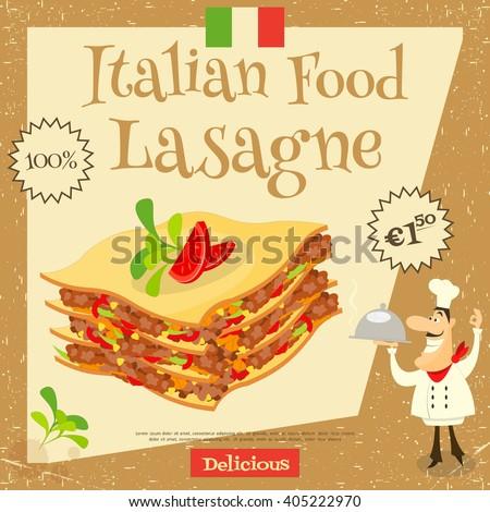 Italian Food - Lasagne. Cover Menu. Advertising Lasagne. European Cuisine. Vector Illustration. - stock vector