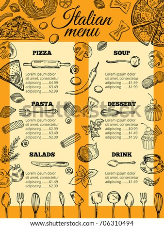 Italian Menu Placemat Food Restaurant Brochure Stock Vector