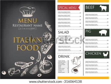 Menu Placemat Food Restaurant Brochure Template Vector – Retro Brochure Template