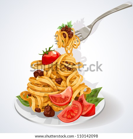 Italian food. Pasta with tomato and meat sauce on a plate and fork - stock vector