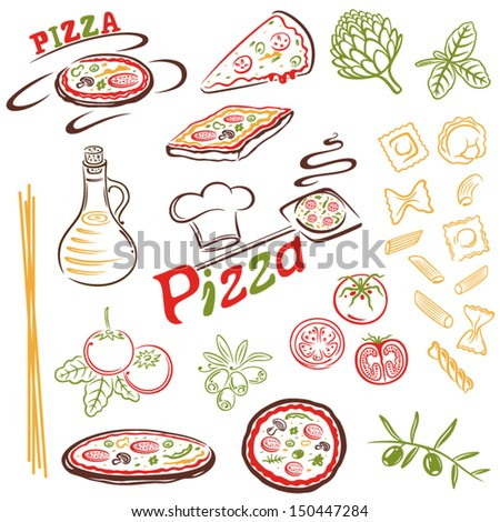 Italian food, pizza, pasta vector set - stock vector