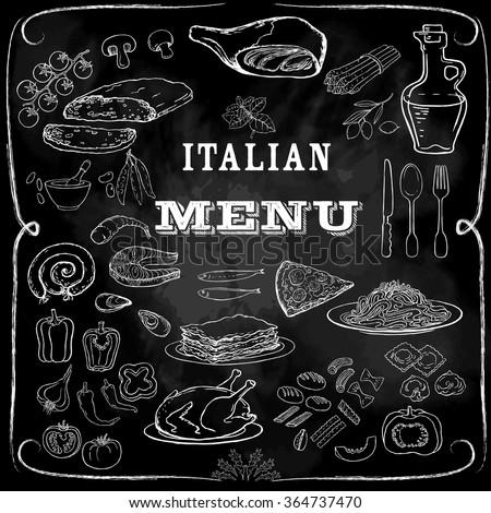 Italian food set. Hand drawn vector illustration. Pizza set. Vintage. Sketch. Chalkboard background. Restaurant menu - stock vector