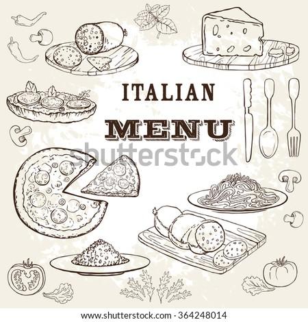 Italian food set. Hand drawn vector illustration. Pizza set. Vintage. Sketch. Grange background. Restaurant menu. - stock vector