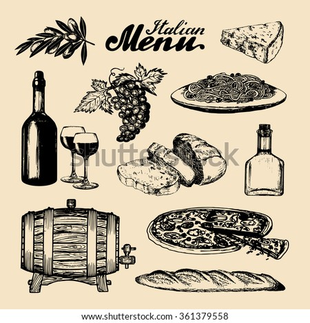 Italian food set. Italian cuisine. Hand sketched italian menu. Vector set of hand drawn italian menu elements with hand lettering. Vector hand sketched traditional italian food and drink in ink style. - stock vector