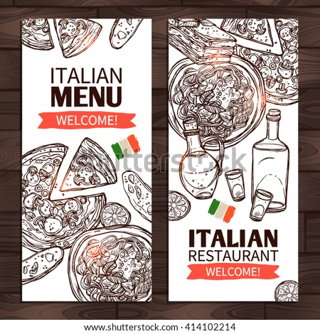 Italian Food Vertical Banners. Italian Menu And Italian Restaurant Design - stock vector