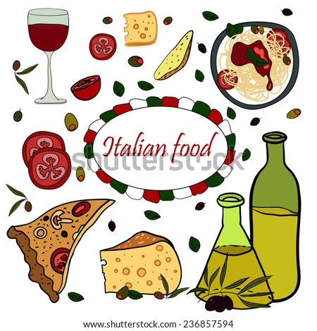 Italian food with pizza, pasta, spaghetti, olive oil, cheese, red wine and tomato. For restaurant menu and flyer design. Vector, EPS 10 - stock vector