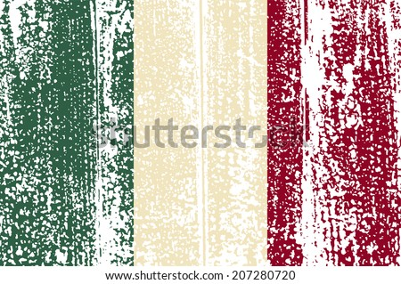 Italian grunge flag. Vector illustration. Grunge effect can be cleaned easily. - stock vector