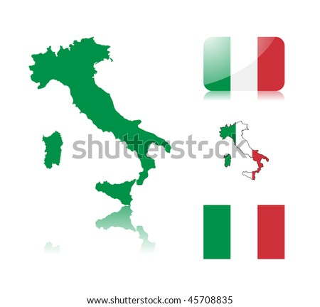Italian  map including: map with reflection, map in flag colors, glossy and normal flag of Italy.