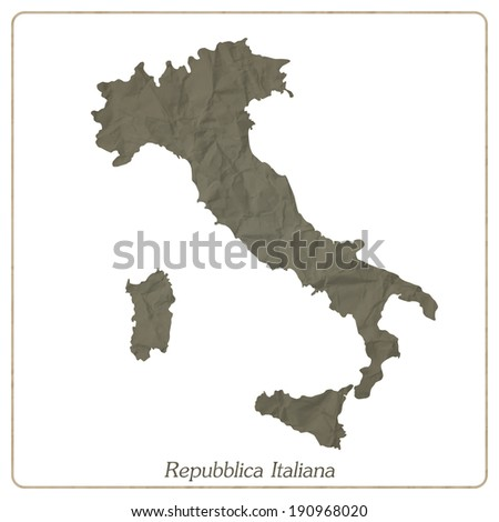 Italian map outline isolated on gray textured paper - stock vector