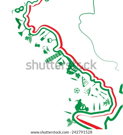 italian map with symbol on white background - stock vector