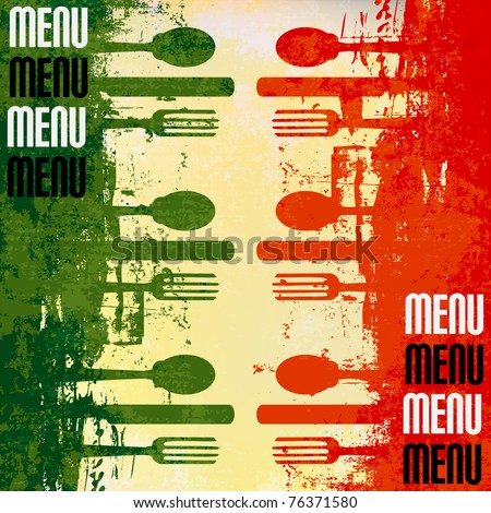 Italian Menu Vector template over a flag of Italy