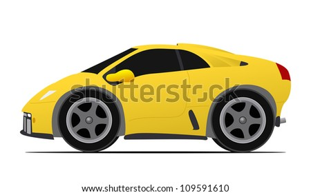 italian mini yellow race car - stock vector