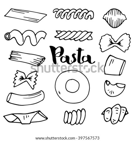 Italian Pasta collection vector sketches. Hand drawn Vector illustration. Set of elements for design.