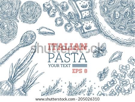 Italian Pasta Frame - stock vector