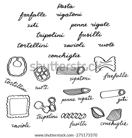 Italian pasta set. Hand-drawn doodle shapes of pasta. Real outline traced drawing. Vector illustration.  - stock vector