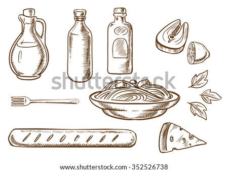 Italian pasta sketch design with italian spaghetti, sauce and basil encircled by bottles of olive oil, tomato and mustard sauces, fork, cheese, ciabatta bread and salmon fish with lemon. Sketch style - stock vector