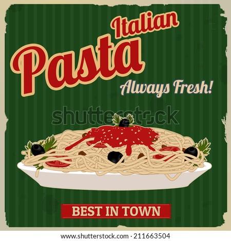 Italian pasta. Spaghetti with sauce poster in vintage style, vector illustration - stock vector