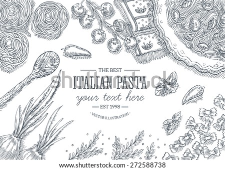 Italian pasta top view frame.Design template. Vector illustration - stock vector