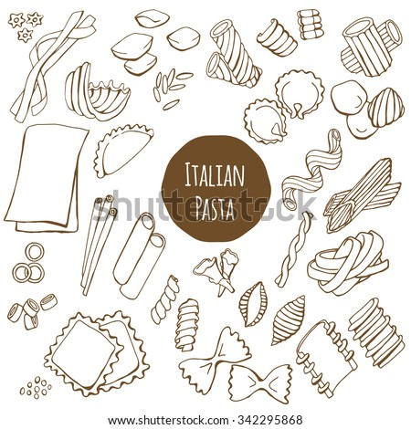 Italian pasta, various kinds like farfalle, fusilli and spaghetti, hand drawn vector set isolated on white background