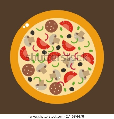 italian pizza and the ingredients for pizza - stock vector