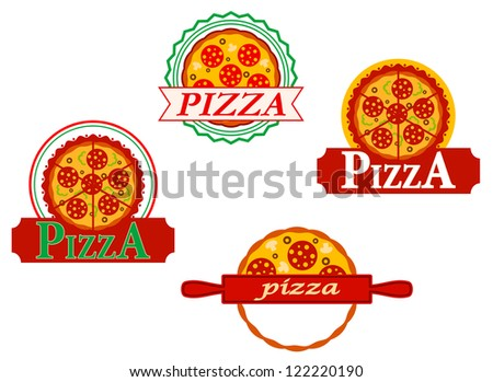 Italian pizza banners and emblems set for cafe and menu design, such a logo template. Jpeg version also available in gallery - stock vector