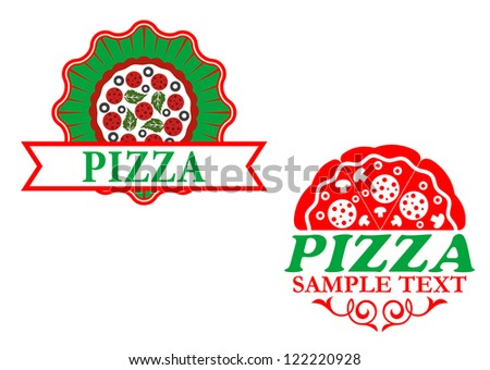 Italian pizza emblems and banners for fast food design, such a template. Jpeg version also available in gallery - stock vector