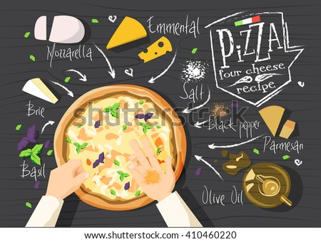Italian pizza recipe. Four cheese pizza. Italian pizza. delicious pizza. Cooking pizza. Products for pizza. Tasty pizza. Fast pizza. Chief pizza. Delivery pizza. Pizza by  myself. Pizza in microwave.  - stock vector