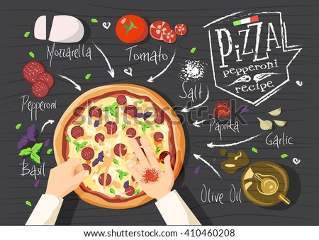 Italian pizza recipe. Pepperoni pizza.  Italian pizza. delicious pizza. Cooking pizza. Products for pizza. Tasty pizza. Fast pizza. Chief pizza. Delivery pizza. Pizza by  myself. Pizza in microwave.  - stock vector