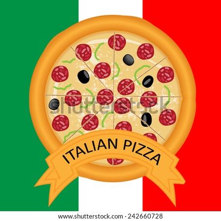 Italian pizza vector design  - stock vector