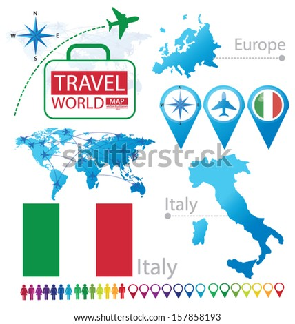 Italian Republic. Italy. flag. World Map. Travel vector Illustration.