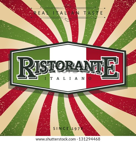 Italian Restaurant Banner - stock vector