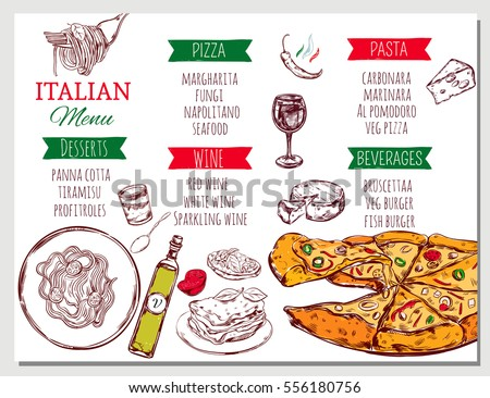 Italian Restaurant Menu Traditional Dishes Beverages Stock Vector Hd
