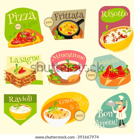 Italian Traditional Food Set. Italian Cuisine. Food Collection. Italian Food Labels Set. Vector Illustration. - stock vector