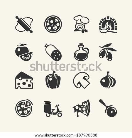 Italian traditional pizza - web icons set - stock vector