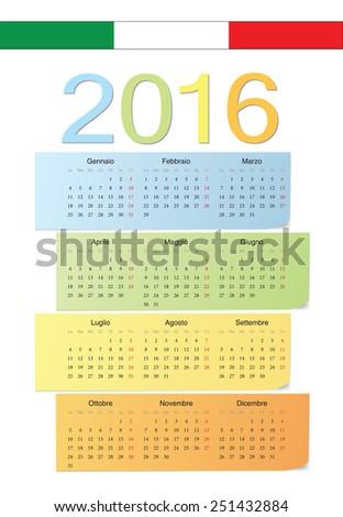 Italian 2016 vector color calendar. Week starts from Monday. - stock vector