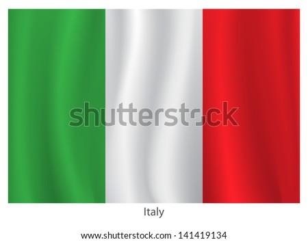 Italian vector flag - stock vector