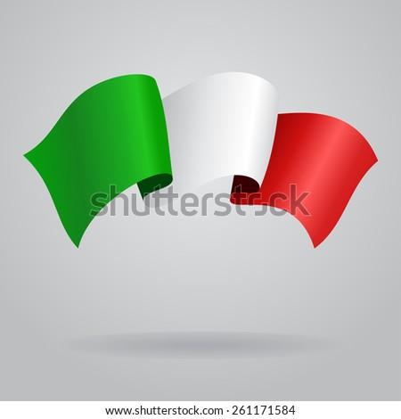 Italian waving Flag. Vector illustration Eps 8. - stock vector