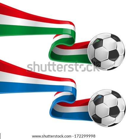 italy and france flag with soccer ball - stock vector