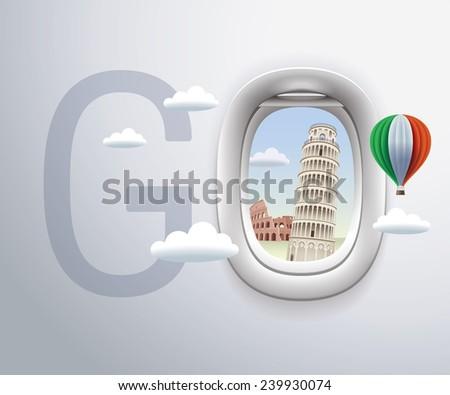 Italy and Pisa, Rome, Colosseum, travel, Landmark - stock vector