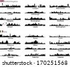 Italy and UK cities vector set - stock vector