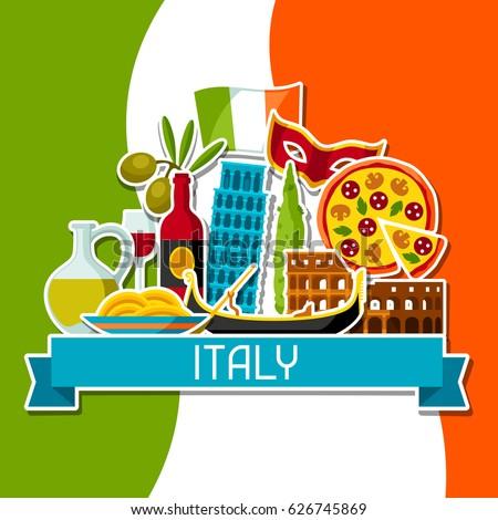 Italy Background Design Italian Sticker Symbols Stock Vector