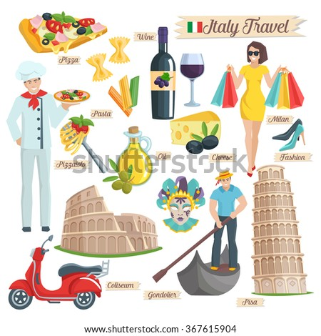 Italy culture  set. Elements of infographic for travel Italy. Coliseum  Pisa gondolier pizza wine oil pasta cheese chef  scooter. Italy icons flat. Vector illustration. - stock vector