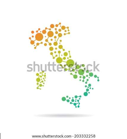 Italy dot and lines map image. Concept of networking, structure, communication. Vector icon - stock vector